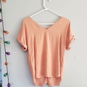 Peach pink v neck top